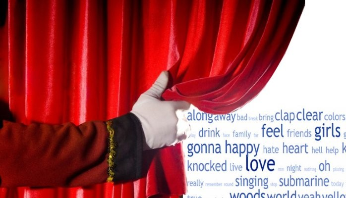 Hand moving a curtain back on a word cloud