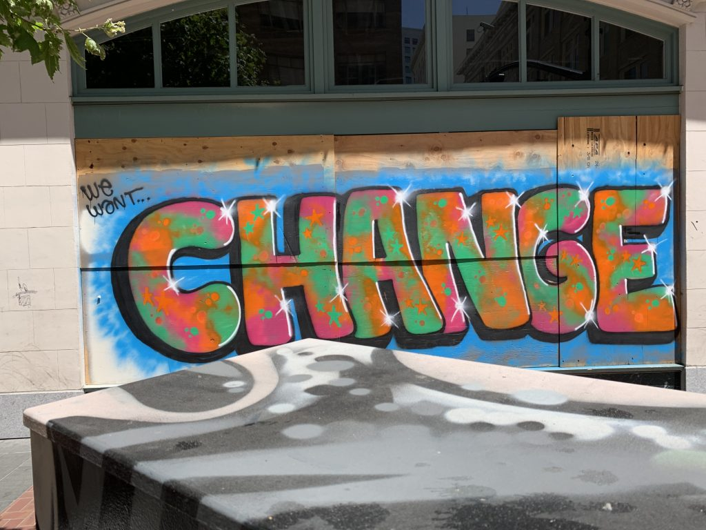 Tagger art of the word Change Oakland California 2020